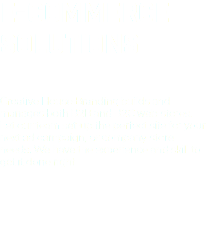 E-COMMERCE SOLUTIONS Creative House Branding builds and manages both B2B and B2C web-stores. Let our team set-up the perfect site for your next ad campaign, or company-store needs. We have the experience and skill to get it done right.